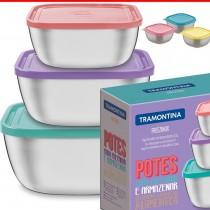 Kit Conjunto Potes Hermeticos Inox Tampa Plastico Tramontina 3pç