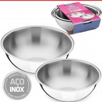 Kit Conjunto Bowl Potes Bacia Tigela Aço Inox Tramontina 2pç
